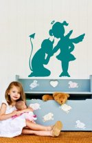 Little devil kissing angel - Charming Wall Decor
