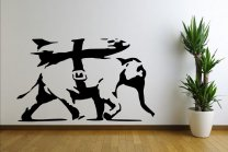 Banksy - Heavy Weaponry Rocket Bomb Elephant - Wall Sticker