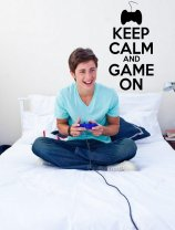 'Keep Calm and Game On' - Teenager / Gamer / Kids Room Wall Decal