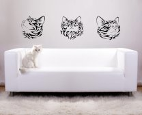 Three Tribal Cats - Great Vinyl Sticker For Every Cat's Lover