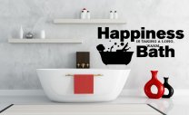 'Happiness is taking a long, warm BATH' - Large Bathroom Wall Quote