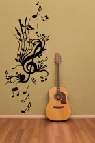 Floral Key Music - Large Wall Decal Music Notes