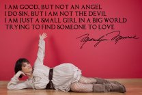 Marilyn Monroe ' I am good, but not an angel...' - Large Wall Quote