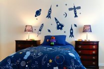 Large Set of Space Rockets, Planets and Stars - Kids Room Wall Stickers