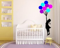 Banksy Girl with Colourful Balloons Ver 2 Enhanced Wall Sticker