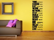 'Think positively, excercise daily...' - Giant Motivational Wall Sticker Version 2