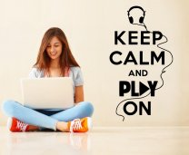'Keep Calm and Play On' - Modern Wall Vinyl Decoration