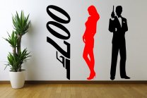 James Bond Set Of 3 Stickers - Large Wall Decoration