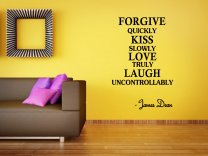 'Forgive quickly , Kiss slowly, Love Truly...' James Dean Quote Wall Decor