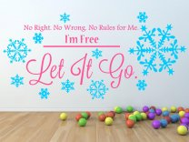 Frozen 'No Right. No Wrong. No Rules for Me. I'm Free. Let It Go.' Snowflakes Large Wall Decor