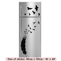 Romantic Feather and Birds - Waterproof Kitchen Fridge Sticker