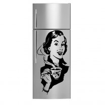 Retro Lady With Coffee - Waterproof Kitchen Fridge Sticker