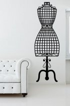 Dressmaker Mannequin Vintage Fashion Wall Sticker Decal