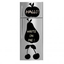 Apple, Pear and Cherries - Amazing Chalkboard Fridge Stickers + Free Chalk and Sponge