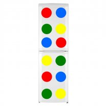 12 Colourful Circles - Blue, Yellow, Red and Green Waterproof Fridge Stickers 20cm x 20cm each