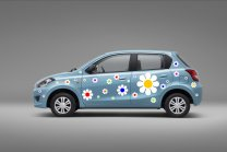 Colourful Daisy Car - Fridge - Laptop - Kids Room Wall Sticker