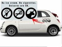 No ice cream. No cigarettes. Unicorns are OK - Car / Shopping Window Funny Stick