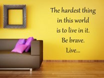 'The hardest thing in this world is to live in it...' Large Wall Motivational Qu
