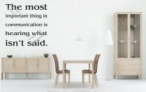 'The most important thing in communication is hearing what isn't said.' Large Wall Quote Sticker