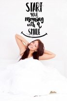 Start your morning with a smile - Optimistic Quote Wall Decal