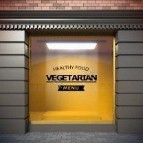 Healthy Vegetarian Food - Large Shop Window / Restaurant Sticker