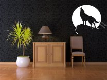Car sticker Wolf howling on the moon background Stunning wall / car sticker