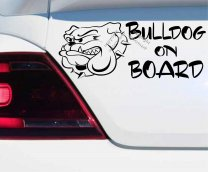 Bulldog on board car bumper sticker