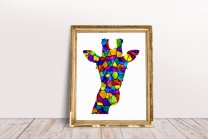 Colourful Vector Giraffe Head Poster by FunWorld