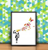 Banksy Butterfly Suicide Girl Poster