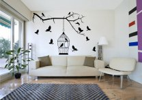 Birds On The Branch With Cage Giant Wall Sticker Amazing Removable Decal