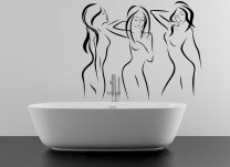 Set Of 3 Sexy Outline Art Ladies Large Removable Wall Sticker Attractive Sticker