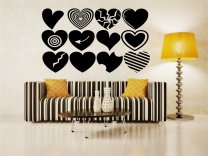 Lovely Set of 12 Creative Hearts Large Wall Sticker Removable Decal High Quality