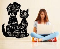 Friends are like stars Cat and dog friends Cute Wall Sticker Decal Decoration Removable DIY