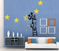 NEW! Banksy 2017 WALL STICKER - Worksman removes star from the EU flag - Brexit - Dover