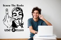 Screw the Banks - Use Bitcoin - Funny Alternative Wall Sticker, Cryptocurrency B