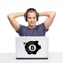 BITCOIN Piggy Bank - Funny Wall, laptop, car, computer case sticker decal transf