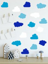 Set of 16 Clouds Wall Stickers Removable Minimalist Decals