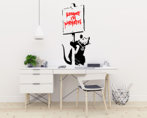 Banksy 'Because I'm Worthless' Rat with Sign Graffiti Artwork Vinyl Wall Sticker Decal