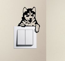 Designer - Cute Puppy Dog Husky Baby Pet Light Switch Sticker Funny Wall Decal