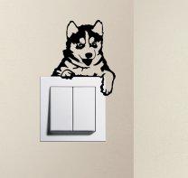 Designer - Cute Puppy Dog Husky Baby Pet Light Switch Sticker Funny Wall Decal