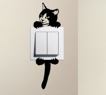 Designer - Cute Smiling Kitty Cat Pet Light Switch Sticker Funny Wall Decal