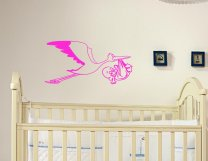 Designer - Stork Carrying Baby Child version 2 Large Wall Sticker