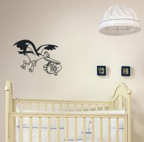 Designer - Stork Carrying Baby Child version 3 Lovely Decal