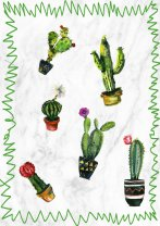 Cactus Watercolour Painting Poster Botanical Cacti Print Marble Background