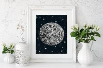 Moon Scandinavian Black & White Simple Nordic Poster