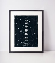 Moon Poster 'Little Star' Scandi Minimalist Black and White Premium Print