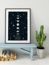Moon Poster 'I love you more than all the stars' Home Decor Wall Art Print