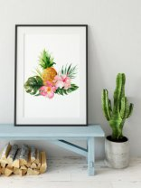 Tropical Leaves Leaf Hibiscus Pineapple Poster Botanical Green Print IKEA sizes