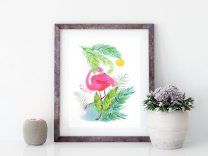 Tropical Leaves Leaf Flamingos Watercolour Poster Botanical Print IKEA sizes