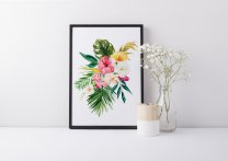 Botanical Colourful Poster Tropical Flowers Hibiscus Monstera Banana Leaves Print